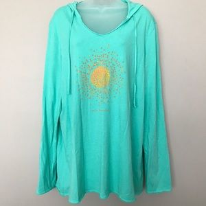 "Life is Good ""Hello Sunshine"" Teal Pullover - XL"